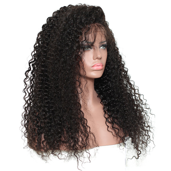 250% Density Curly Lace Front virgin Human Hair Wigs Pre Plucked