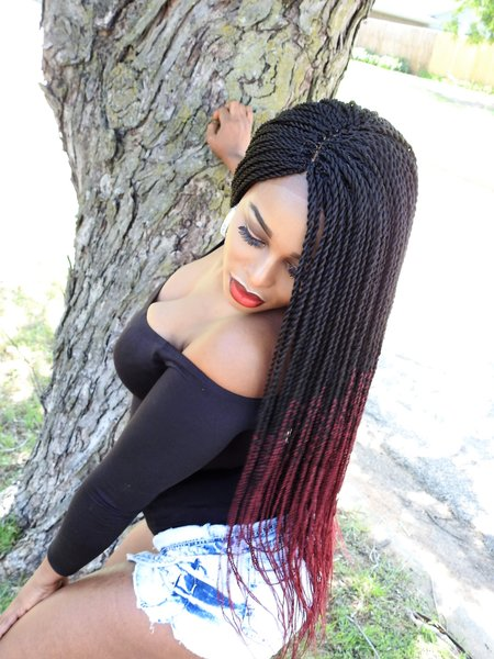 Ombre Lace front Twist Wig 24