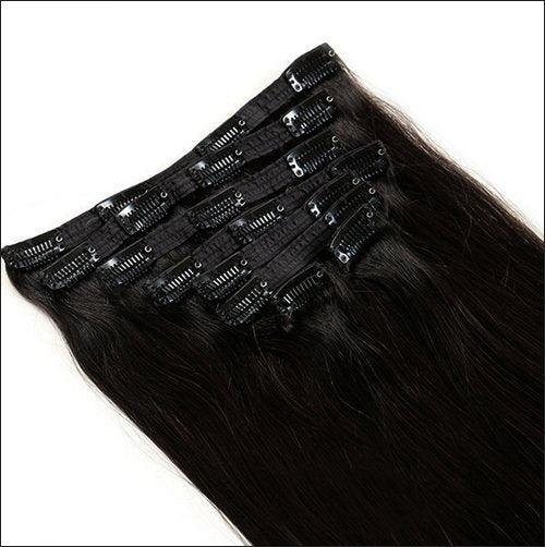 Straight Clip In Human Hair Extensions 6A unprocessed 16-28