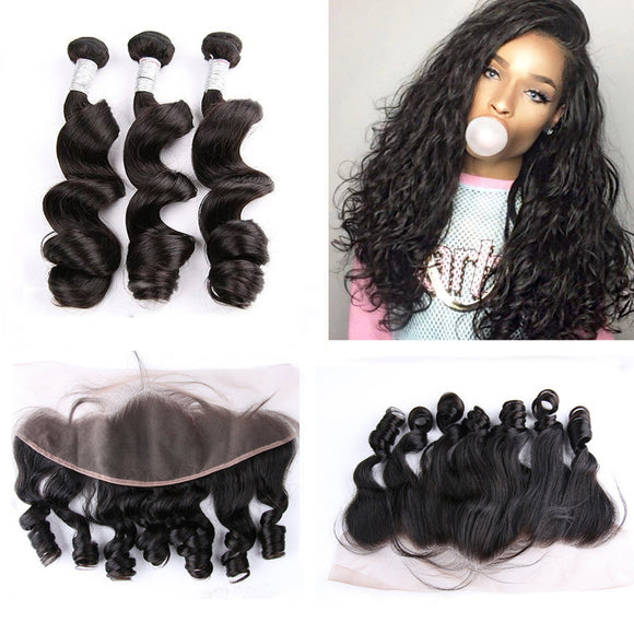 MALAYSIAN LOOSE WAVE HAIR 3 BUNDLES FREE LACE FRONTAL
