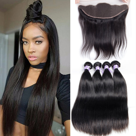 MALAYSIAN STRAIGHT HAIR 3 BUNDLES FREE LACE FRONTAL