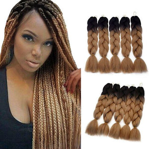 "Ombre Braiding Hair 24"" (Black-dark brown-light-brown)"