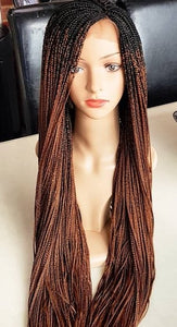 Small Ombre Box Braids lace wig, full lace lace frontal 38 inches long