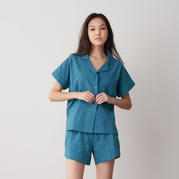 Tani Comfort Woven Pyjama Set in 455 forest colour