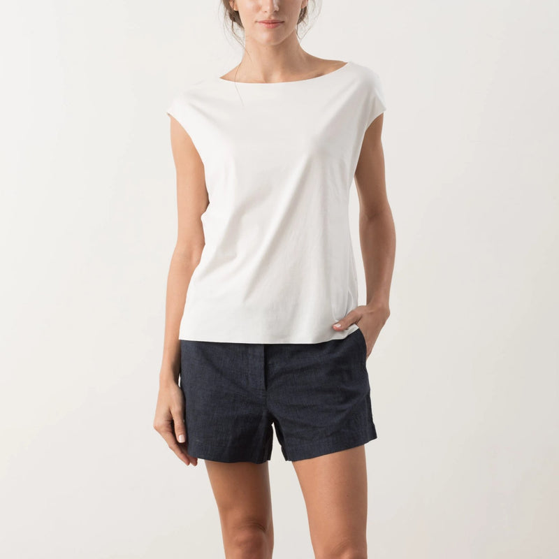 Tani Comfort Freeform Boat Neck Tee in skin 350 colour