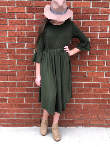 Tween Midi Dress with Bell Sleeves