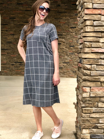 Womens Windowpane T-Shirt Dress (Plus Sizes Available)