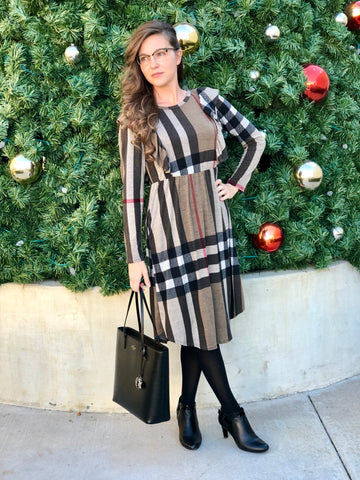 Womens Plaid Ruffled Dress