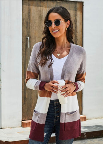 Womens Color Block Cardigan