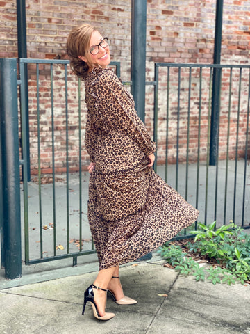 Womens Tiered Leopard Dress