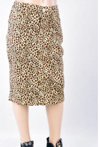 Girls Leopard Denim Skirt