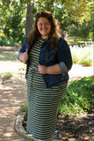 Womens Mini Striped Repeat Dress (Plus Sizes Only)