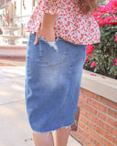 Womens Mod Denim Skirt (Plus Sizes Available)