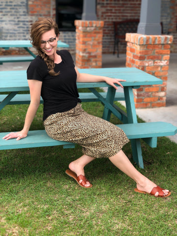 Womens Leopard Denim Skirt (Plus Sizes Available)