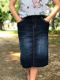Womens Original Top Stitched Denim Skirt (Plus Sizes)