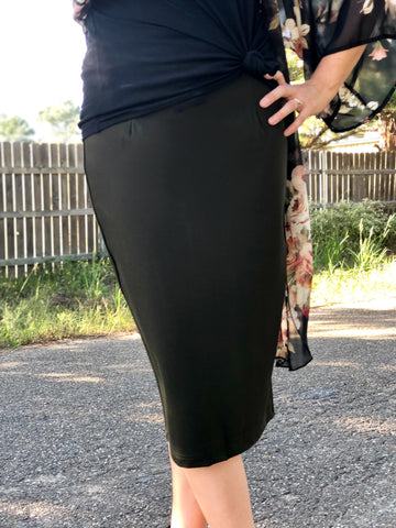 Womens Double Knit Pencil Skirt (Plus Sizes)