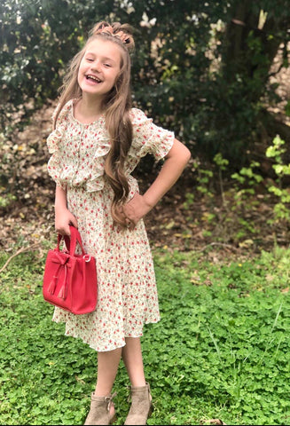 Girls Floral Ruffled Dress