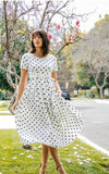 Womens Pleated Polka Dot Dress (2 colors)
