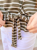 Womens Striped Tie Front Top