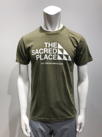 PERPETUATE HAWAIIAN CULTURE - The Sacred Place Army Green T-Shirt - Noeau Designers
