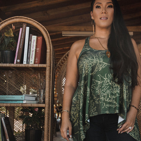 ARI SOUTH - Forest Green Pala'ā Lama Tank - Noeau Designers