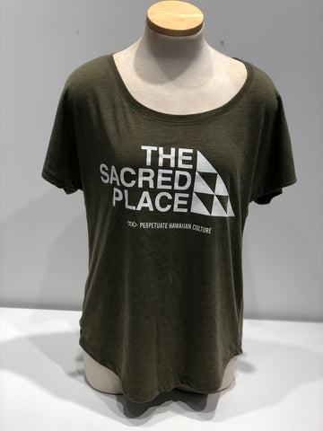 Perpetuate Womens Military Green Sacred Place - Noeau Designers