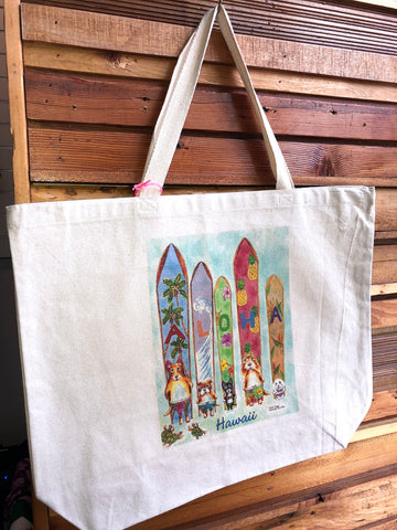 Michael Lee Large Aloha Surfboard With Dogs Tote Bag - Noeau Designers