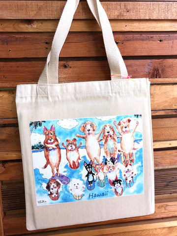 Michael Lee Small Surfing Dogs Tote Bag - Noeau Designers
