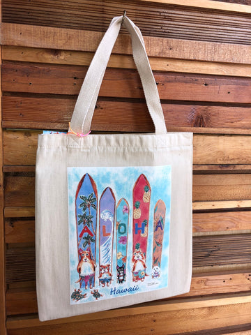 Michael Lee Small Aloha Surfboard With Dogs Tote Bag - Noeau Designers