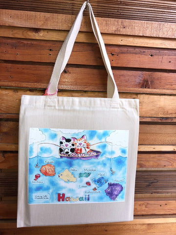 Michael Lee Small Fishing Cats Tote Bag