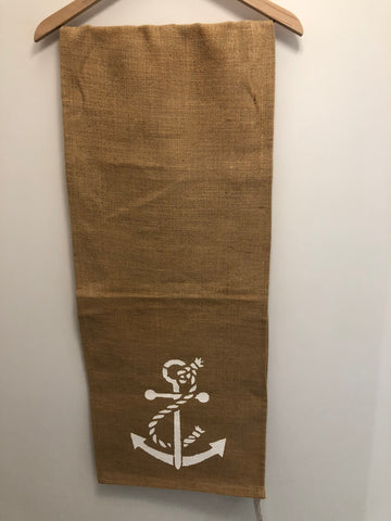 "72"" Anchor Burlap Table Runner - Noeau Designers"