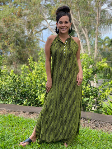 LIVING HULA - ʻAʻaliʻi Green & Black Napualani Dress - Noeau Designers