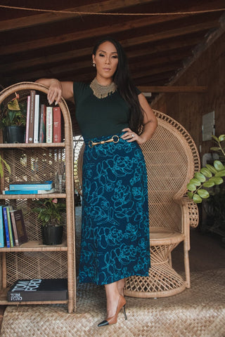 ARI SOUTH - Midnight Blue Likolani 'Apelilia Skirt - Noeau Designers