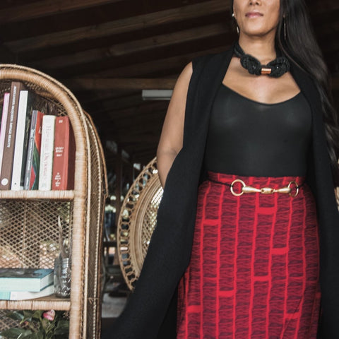 ARI SOUTH - Red Pūhala 'Apelilia Skirt - Noeau Designers