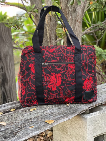 LIVING HULA - Lokelani Red/Black Overnighter Bag - Noeau Designers