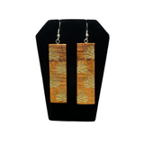 NOʻEAU DESIGNERS - Lehua Engraved Koa Long Bar Earrings - Noeau Designers