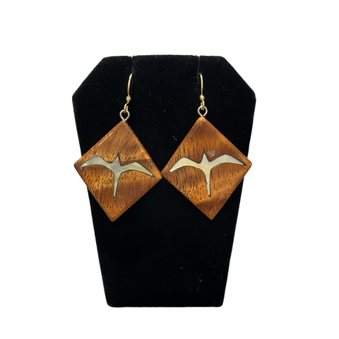 NOʻEAU DESIGNERS - Koa Diamond Earrings with Mother of Pearl ʻIwa Birds - Noeau Designers