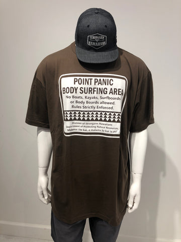 STRONGARM HAWAIIANS - Point Panic Brown T-Shirt - Noeau Designers