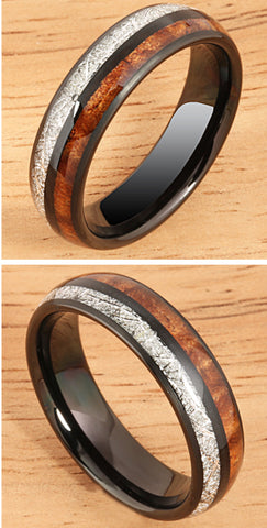 Native Blends 6mm Koa & Meteorite Rings - Noeau Designers
