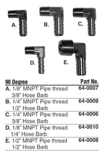 "Hot Products Brass Elbow (90 Degrees) - 1/8"" MNPT - 3/8"" Barb"