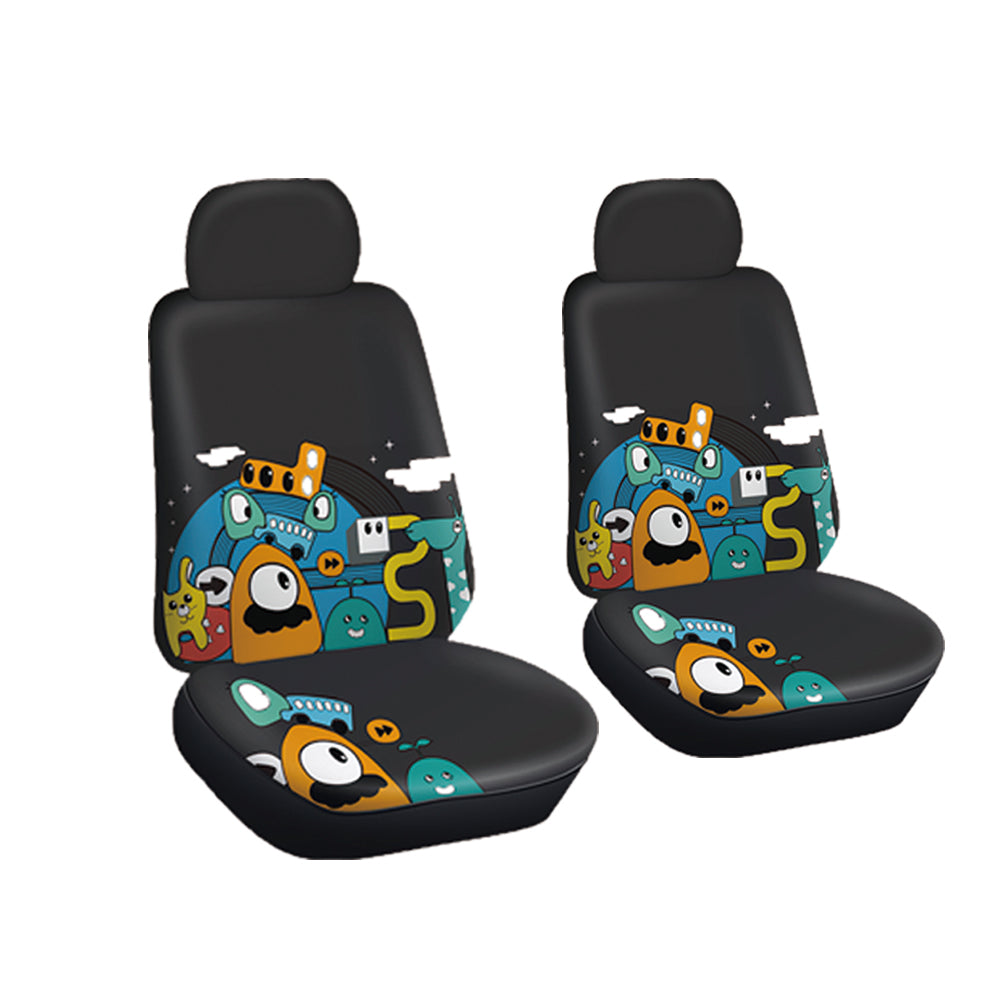 Autojoy Soft Velvet Car Seat Cover with Fashion Young Animals Digital Printing