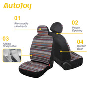 AutoJoy Universal Baja Blanket Seat Covers Boho Car Seat Covers Grey