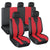 Universal Red Mesh and Leather Car Seat Covers Full Set