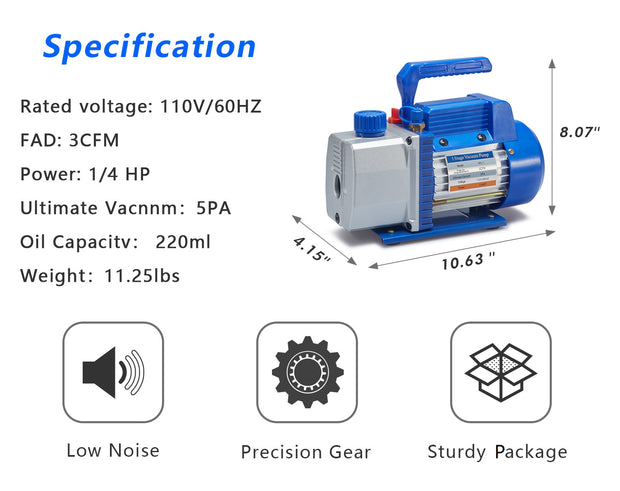 NewPosition 3CFM Single-Stage Rotary Vane Vacuum Pump for HVAC/Auto AC Refrigerant Recharging, Wine Degassing, Milking, Medical, Food Processing