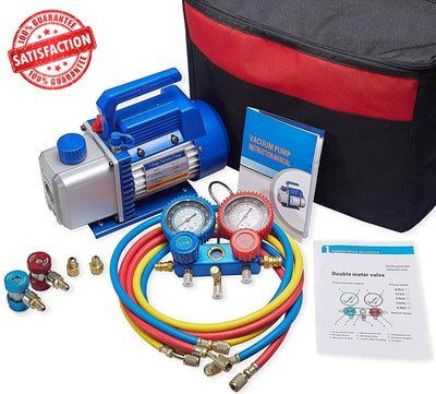 4CFM 1/3HP Air Vacuum Pump HVAC A/C Refrigeration Tool Kit AC