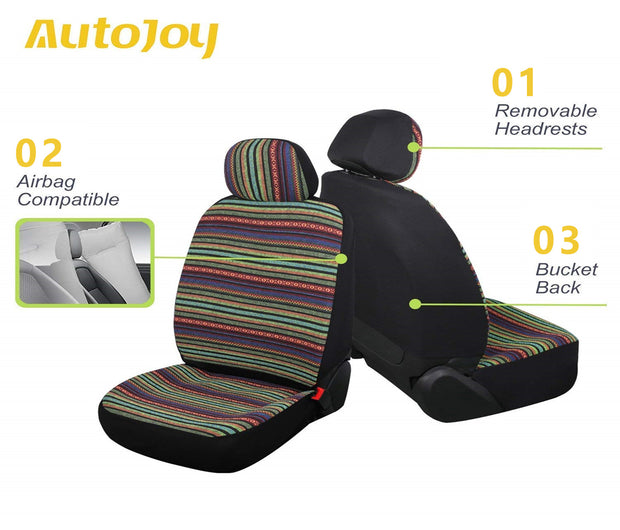 AutoJoy Universal Baja Blanket Car Seat Covers Boho Car Seat Covers Green