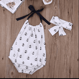 Baby Girls Bowknot Anchor Backless  Romper +headband Outfits Sunsuit Baby > Rompers and Jumpsuits - KidNappy