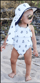 Baby Girls Bowknot Anchor Backless Romper + headband Baby > Rompers and Jumpsuits - KidNappy