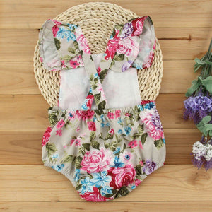 Summer Floral Baby Girl Floral Ruffles Romper Toddler Outfits