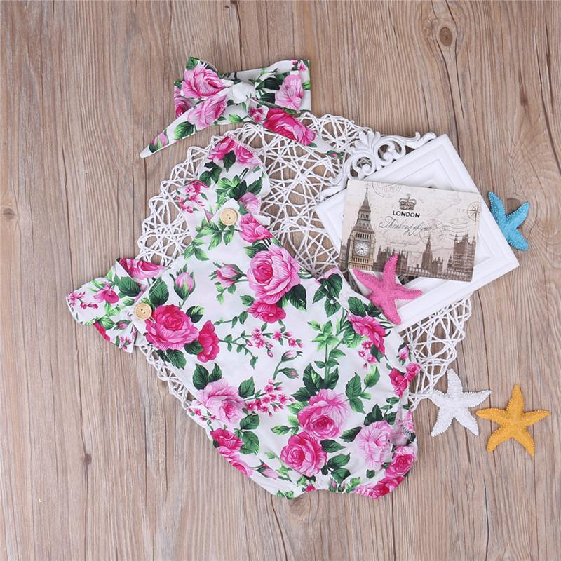 c89b81fb177f Floral Baby Girls Clothes Summer Short Sleeve Romper Bebes Button Jumpsuit  + Headband 2PCS Set Outfit